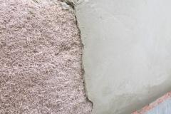 Plâtre et chaux sur béton de chanvre