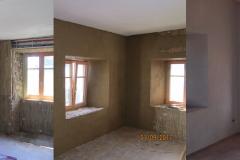 isolation béton de chanvre derrière panneaux de roseaux, enduit de corps en terre et finition à la chaux