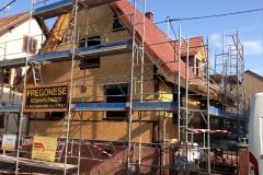 préparation des banches extérieures pour une projection de béton de chanvre par l'intérieur