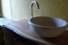 Meuble, Vasque en pierre et stuc